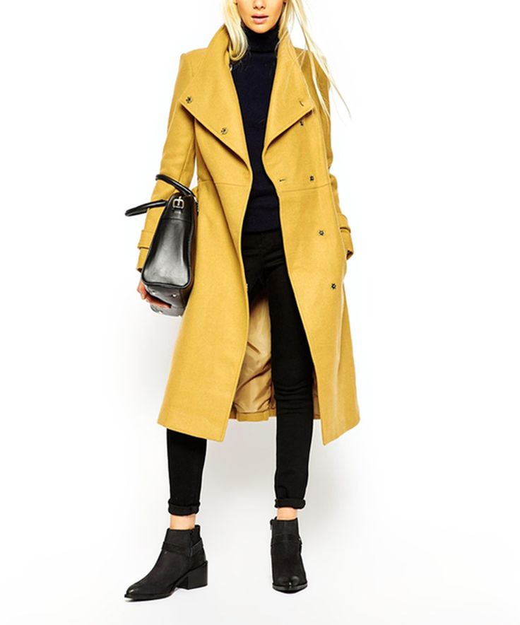 Look at this #zulilyfind! HaoDuoYi Yellow Button Wool-Blend Peacoat by HaoDuoYi #zulilyfinds