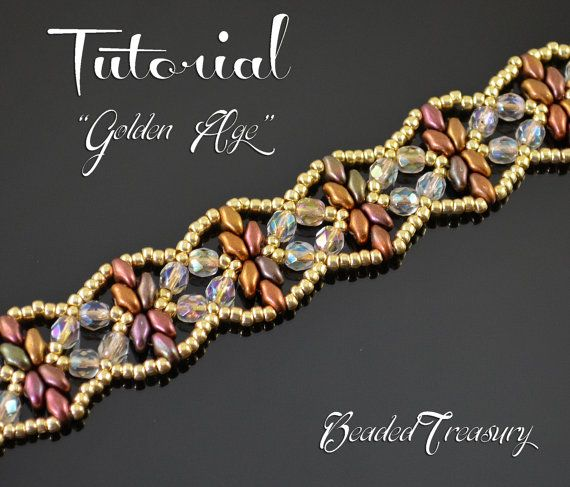 Edad de oro - superduo grano patrón, tutorial de abalorios, patrón de la pulsera de beadwoven, granos de la semilla, granos fuego-pulidos / TUTORIAL sólo