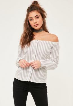Cream Long Sleeve Bardot Stripe Top