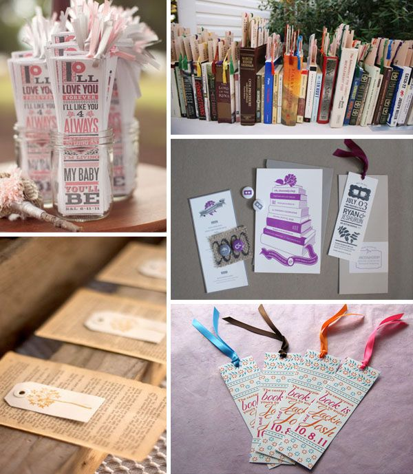 bookmarks wedding ideas. I think it would be a fun idea to gather y'alls favorite books and put bookmarks with the wedding schedule in them. :D