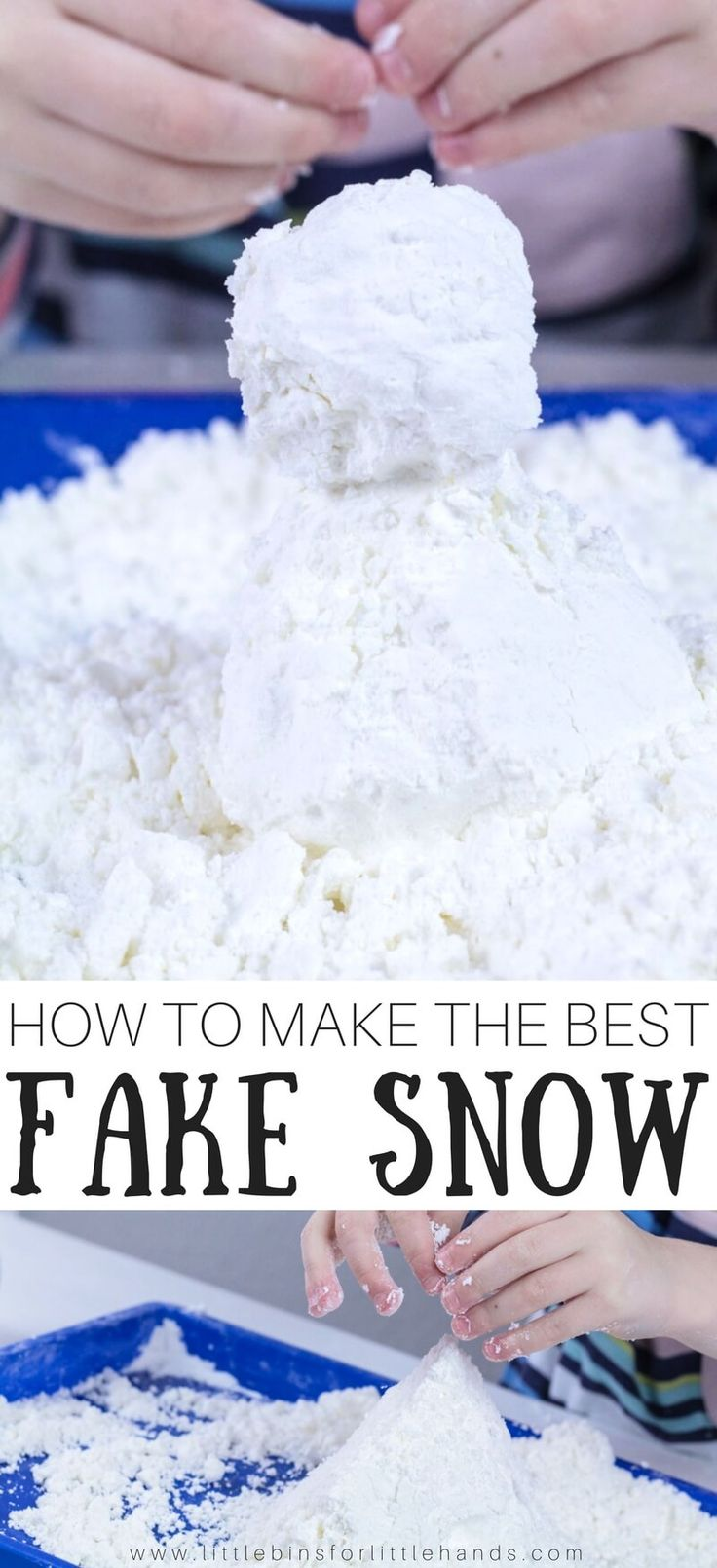 Make fake snow! Too much snow or not enough snow? It doesn't matter when you know how to make fake snow! Treat the kids to an indoor snowman building session or fun winter sensory play with this super easy to make snow recipe! If you haven't tried our fake snow slime yet, put it one list. There's all kids of sensory play to try with the kids this season.