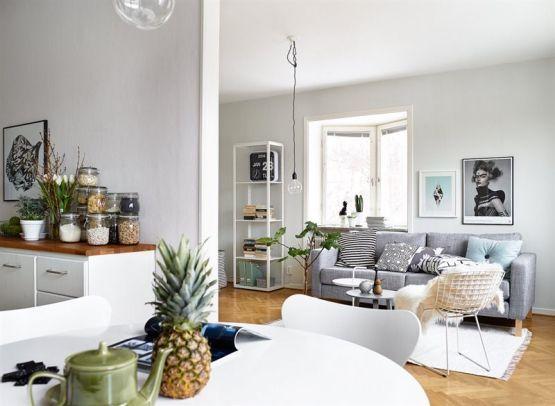 Un interior en armonía: gris, blanco y madera