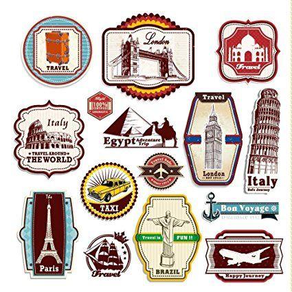 Retro Weinlese-Reise-Koffer-Aufkleber - von 15 Luggage Labels Aufkleber Set