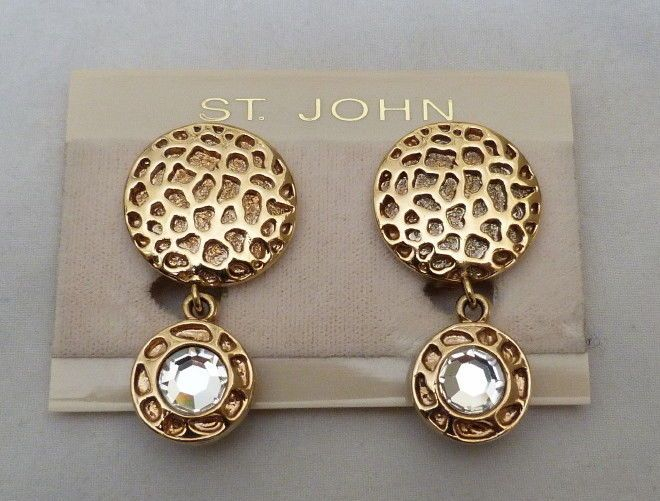RETIRED DESIGNER SIGNED ST JOHN CRYSTAL ANIMAL PRINT EARRINGS ORGINAL CARD TAGS #StJohn