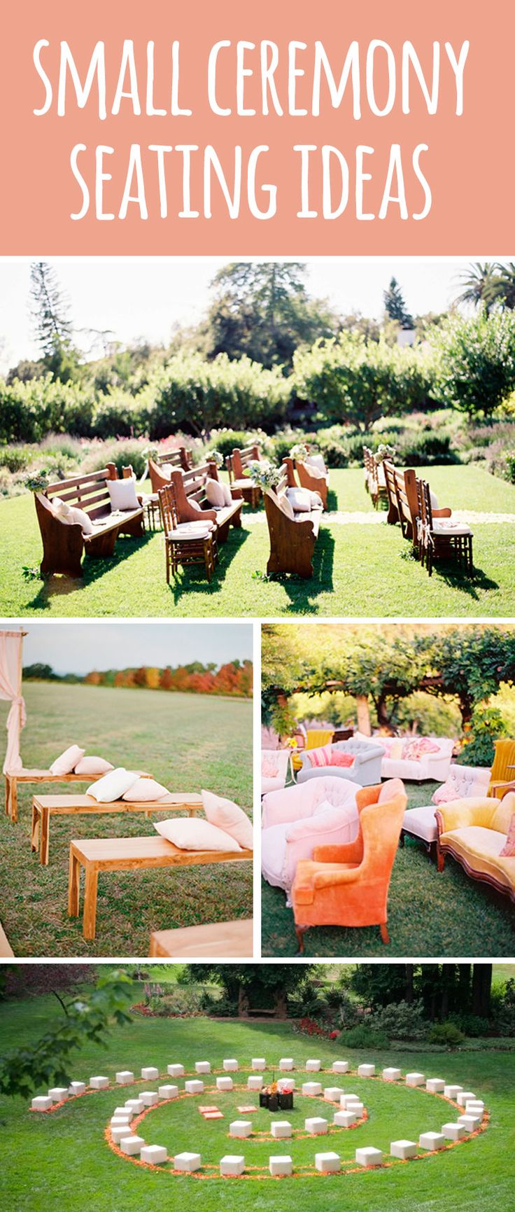 Small wedding ceremony seating ideas. #smallwedding