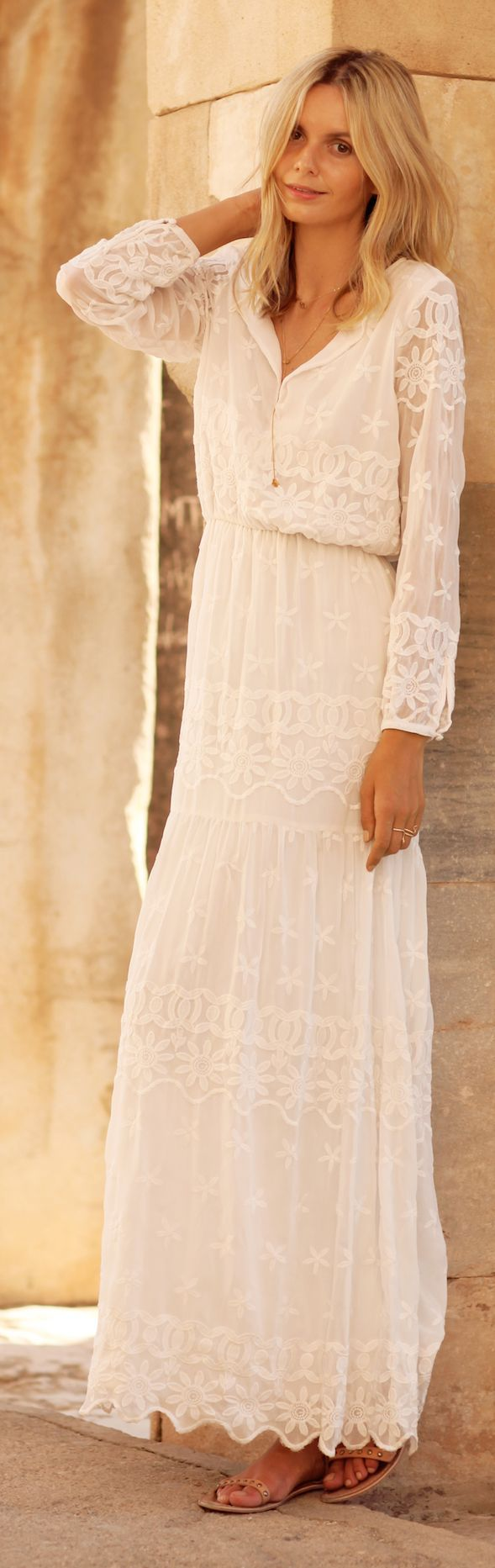 White Lace Maxi Dress by Tuula