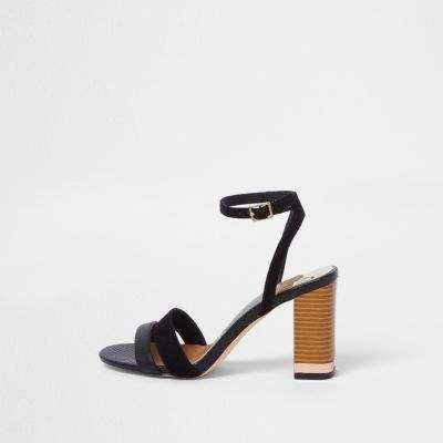 e938835b2 River Island Womens Black wide fit barely there block sandals  Stilettoheels