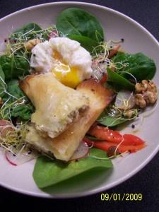 Cigares de feta aux noix et miel en pate filo, salade d'épinards http://babelutteetc.wordpress.com/2009/01/13/cigares-de-feta-aux-noix-et-miel-en-pate-filo-salade-depinards/