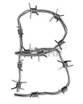 b   font animal: Alfabeto di filo spinato, B