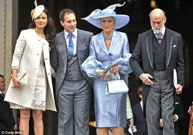 Celebration: The couple pictured alongside Lord Frederick's parents, Prince and Princess Michael of Kent