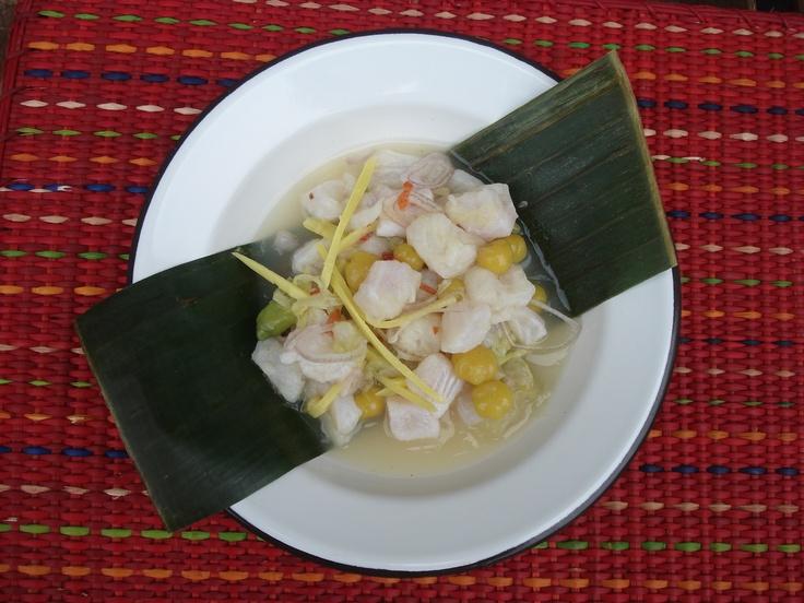 Thai Ceviche | Basa fish, lime juice, limo hot pepper, ginger, sea salt, shallots, pickled mayom (Phyllanthus acidus), pickled green mango and khae flowers (Sesbania grandiflora)
