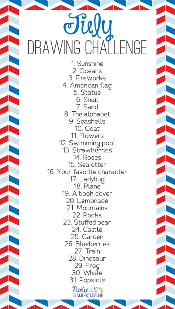 July Drawing Challenge Ideas - Natural Beach Living | 30 ...