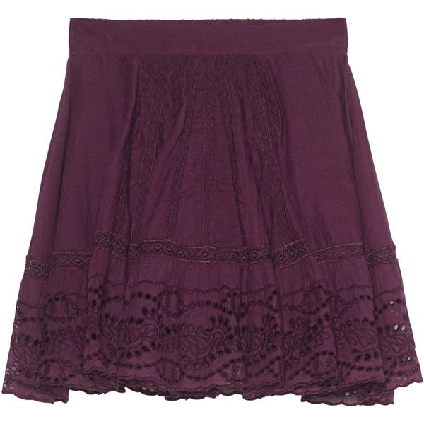 BA&SH Jupe Daisy Prune Purple // Flared mini skirt ($205) ❤ liked on Polyvore featuring skirts, mini skirts, fringe skirt, summer skirts, cotton mini skirt, elastic waist skirt and cotton skirt