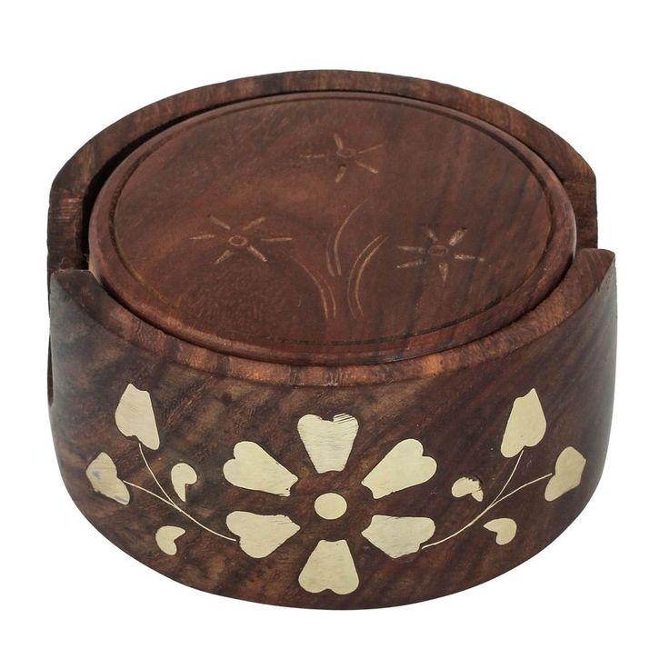 Wooden Coaster with Brass Inlay Work Diameter 4 inch