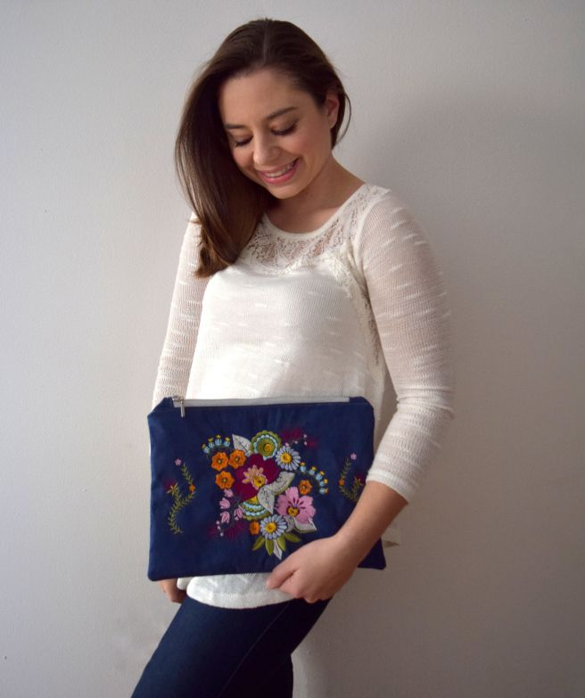 @trishstitched could not wait to give the Skyline S9 a test! Using the machine's embroidery functions and the Anna Maria Horner Limited Edition Embroidery Kit, Trish made a gorgeous embroidered floral clutch that can be used for any occasion.
