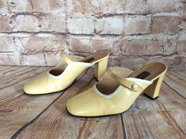 Vintage 1980s Shoes Mules Slip On Mary Janes Lemon Metalic Patent Leather By Next Summer Holiday Vacation Occasion 37 1/2 Or 4 1/2 UK by InVogueToVintage on Etsy