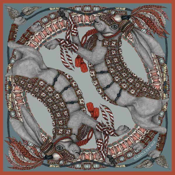 The Silver Hare Silk Twill Scarf   Sabina Savage