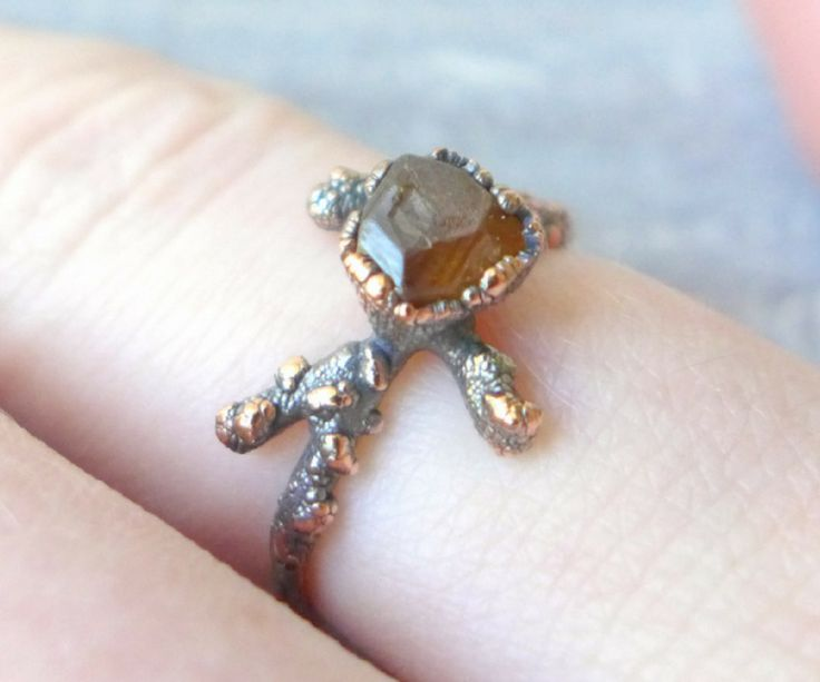 Textured Copper Electroformed Twig Ring With Gemstone DIY