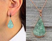 Aventurine Set-Aventurine Necklace and Earrings Set-Valentine's Gift -Gift for Women