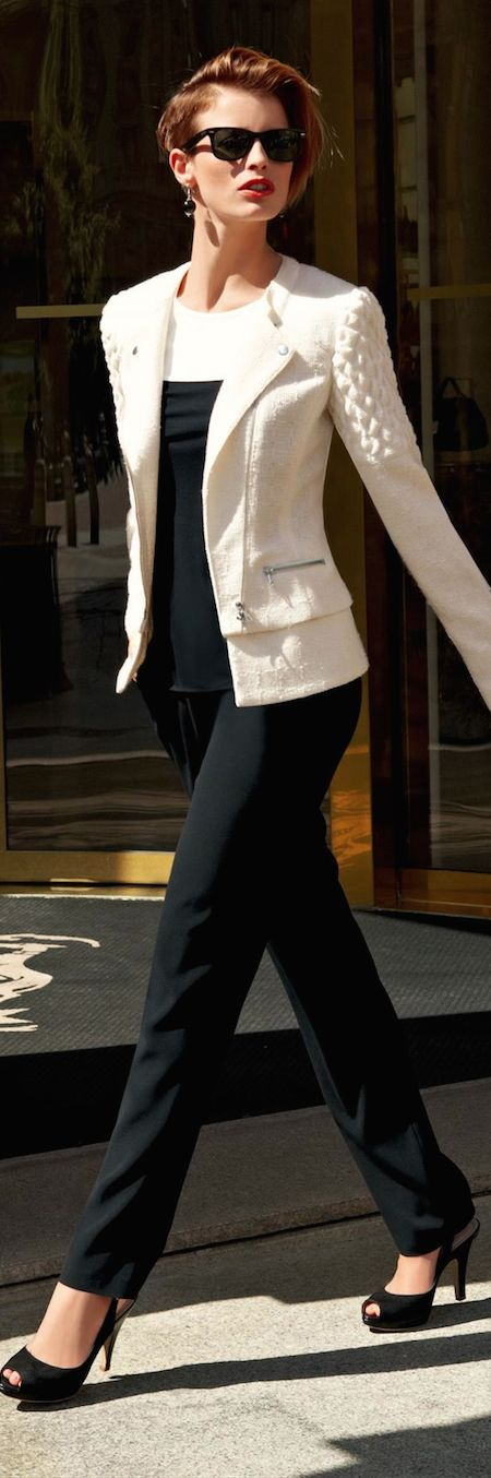 LOOKandLOVEwithLOLO: New Fall 2014 Arrivals from Madeleine....Suits, Jackets, and Pants. Beautiful cream jacket with sleek tailored black pant