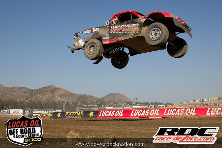 Team ReadyLift Off Road Suspension's Marty Hart airborne in his Pro 2 Ford truck at Lake Elsinore 2012 #LOORRS