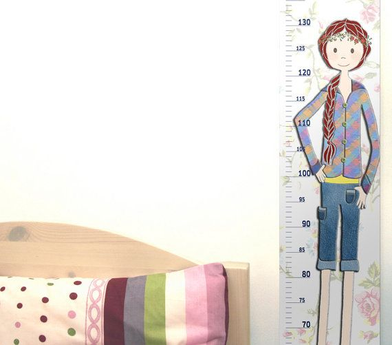 Girls Height Chart  Vinyl Decal  Metric or Feet & Inches by RotemZ, $22.00