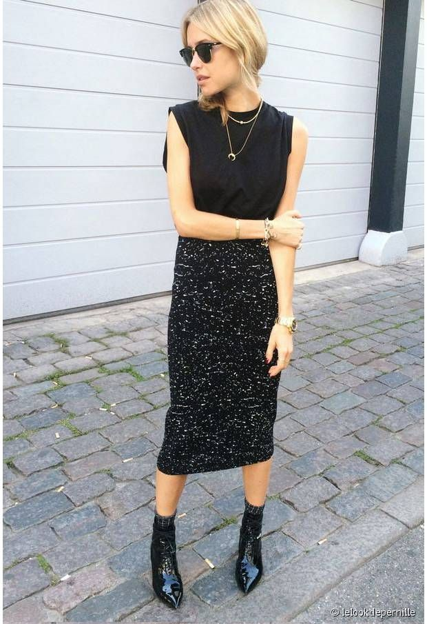 Jupe longue et bottines pointues - Pointed Boots & Long skirt Rock outfit