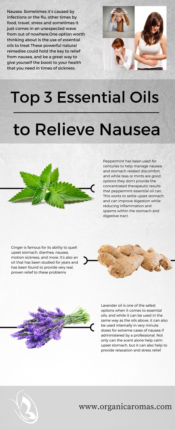 Top 3 Essential Oils to Relieve Nausea - #OrganicAromas Why should you trust in essential oils for nausea, exactly? There are plenty of reasons, and taking a look at some of the main ones should help you see why they're so important.