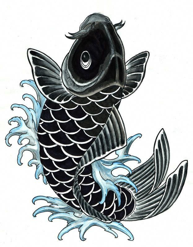 A Japanese Arm Tattoo Design With Some Flowers Waves And A Whirlwind Placed On The Shoulder Koifishinformation Koi Tattoo Design Black Koi Fish Koi Art