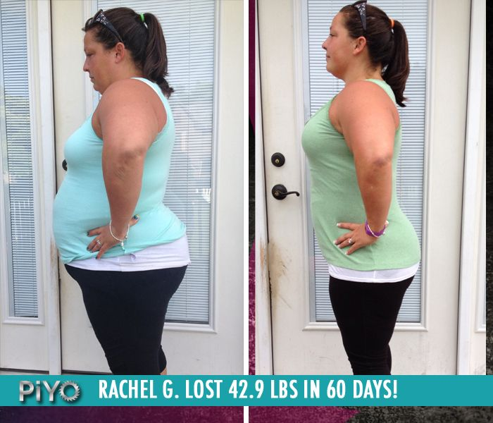 """Rachel G. lost 42.9 lbs in 60 days of PiYo!    """"PiYo focuses on every aspect of fitness: flexibility, cardio, balance, strength, agility and stamina. PiYo changed my body drastically in just 8 weeks, and is something I will continue to do for the rest of my life."""""""
