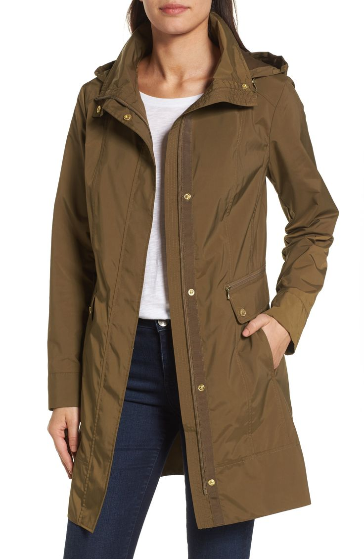 Main Image - Cole Haan Signature Back Bow Packable Hooded Raincoat