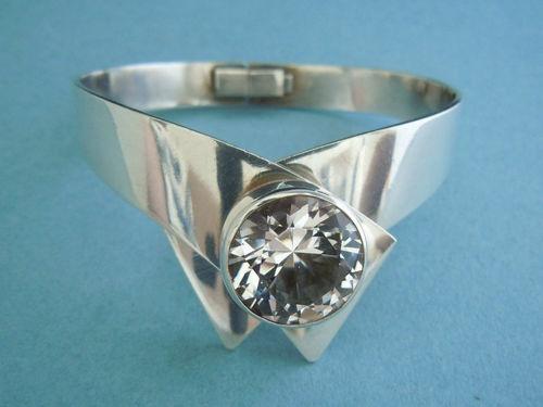 Kaunis Koru Dramatic Sterling Silver Rock Crystal Modernist Bracelet 1972  #EB151