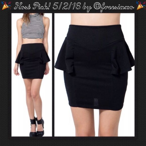 "⚪️HP BOGO 1/2 OFF NWT Black Peplum Skirt  BOGO 1/2 OFF until 5/1/16...see Sale Post in my closet for more details   Host Pick 5/2/16 by @freesiaxo  Super flattering black peplum skirt...zip up back closure with a back kick-pleat...nice material giving a good structured stretch to smooth and accentuate your curves Brand: Agaci Size: Small Measurements: waist - 12.5"" flat, unstretched; length - 24""  Condition: brand new with tags Agaci Skirts Pencil"