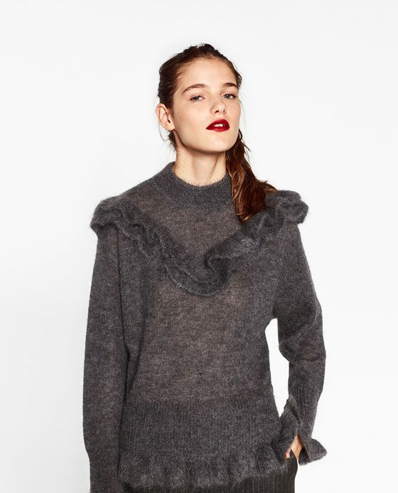 Image 4 of FRILLED MOHAIR SWEATER from Zara