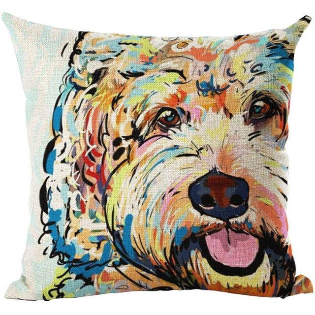 Pug Pop Dog Cushion Cover Decorative Throw Pillows Colorul French BullDog Watercolor Pattern Cotton Linen Cushion Bull Terrier