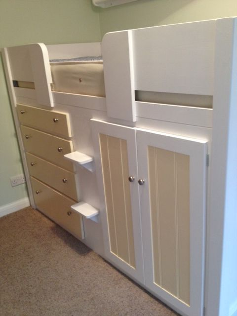 4 Drawer childrens cabin bed in white and cream. This cabin bed has plain  front