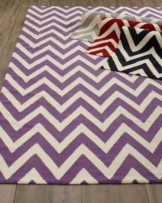 Delia Chevron Flatweave Rug, chic and perfect for my living room. #Horchow