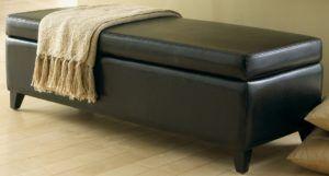 Storage Bench Black Leather