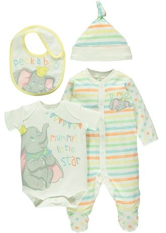 Unisex Disney Dumbo 4 Piece Gift Set (Tiny Baby- 6mths)