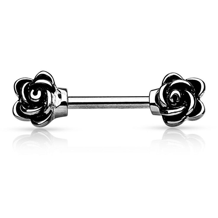 14G Flower Nipple bar body jewelry rose stainless steel silver gold tone 10 mm #BodyJewelry