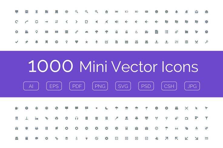 1000 Mini Vector Icons by Creative Stall on Creative Market