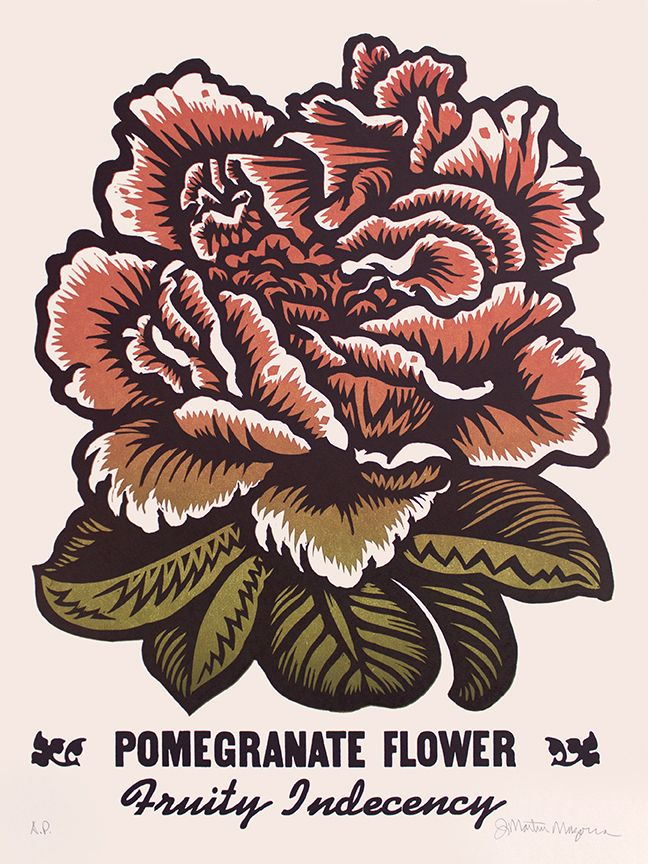 Martin Mazorra Pomegranate Woodcut and Letterpress
