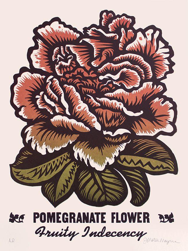 Martin Mazorra Pomegranate Woodcut and Letterpress