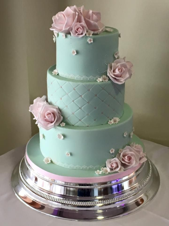 Duck Egg Blue Mint Green Pink Rose Wedding Cake Quilted Pearls Cascading Bouquets In 2018 Pinterest Cakes And