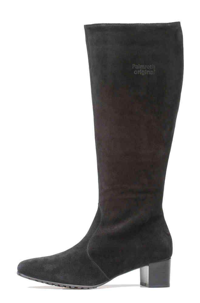 Palmroth mid high heel boot black suede