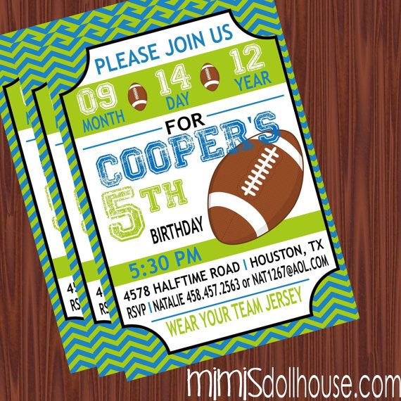 coopers printable football birthday party invitations