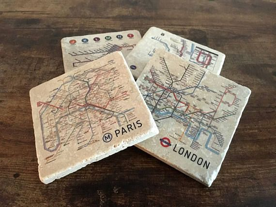 1 Set of 4 Metro Map Coaster Set. Each coaster is 4x4 travertine tile. Subway/metro maps of world cities. Visit Berlin, London, New York, Tokyo, Amsterdam, New Orleans, Chicago, Madrid, Moscow, Bangkok, Rome, San Francisco, Bay Area, Los Angeles, San Diego, Seattle, Vancouver, Paris and...more with this fun and illustrative coaster set. Not all photos can be shown in this listing and many more are available. Please feel free to email with a city you dont see or a photo of one not shown t...