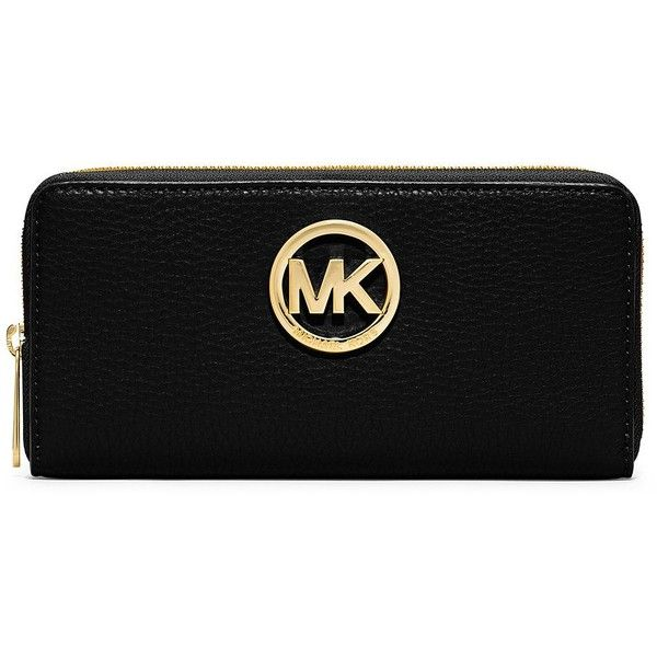 Michael Michael Kors Zip Around Continental Leather Wallet (£88) ❤ liked on Polyvore featuring bags, wallets, purses, accessories, black, real leather wallet, real leather bag, black leather bag, black wallet and zip-around wallet