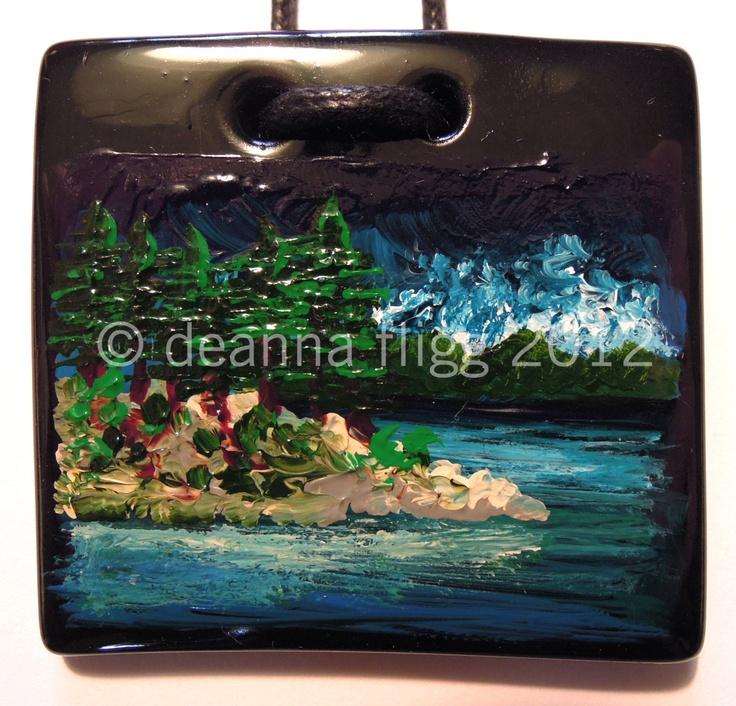 Saxe Point Park, B.C., Canada - Original acrylic painting on polymer clay. $45.00, via Etsy.