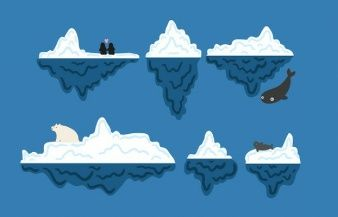 Iceberg underwater vector set